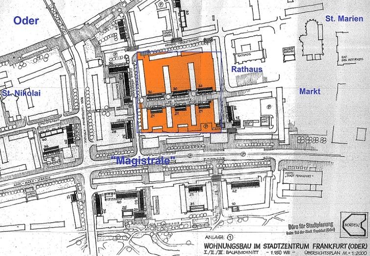 Ausschnitt aus dem Übersichtsplan zur Nachverdichtung der Innenstadt (alle schwarz angelegten Bauten gehören zu den spätsozialistischen Maßnahmen, in der Mitte das Quartier um die Große Scharrnstraße), 1986 (Bild: Stadtarchiv Frankfurt/Oder, Büro für Städtebau, Sign. 18224)