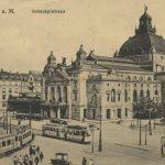 Der Vorgänger des heutigen Bauwerks: das 1902 errichtete und 1951 wiederhergestellte Frankfurter Schauspielhaus (Bil: gemeinfrei, 1914)