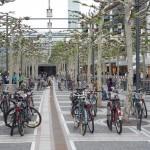 """Die Frankfurter Zeil mit Fahrradständern unter dem """"grünen Dach"""" der Platanen (Bild: Pedelecs at wikivoyage-old.org, CC BY-SA 3.0)"""