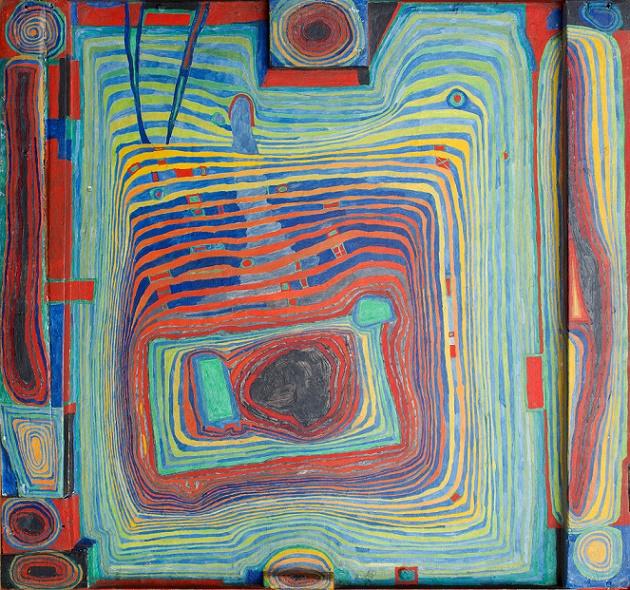 Friedensreich Hundertwasser, 169 Das Blut, das im Kreis fließt und ich habe ein Fahrrad, 1953, Öl auf Pressholzplatte mit Holzrelief, grundiert mit Kreide/Kalk, Zinkweiß und Fischleimkleber 51 x 54,5 cm, (Collection of Louis & Evelyn Franck, © Hundertwasser Gemeinnützige Privatstiftung)