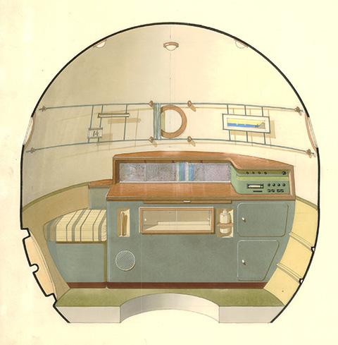 Galina Balašova : erster Entwurf zur Inneneinrichtung eines Sojus-Moduls, 1964 (Bild: © Archiv Galina Balašova)