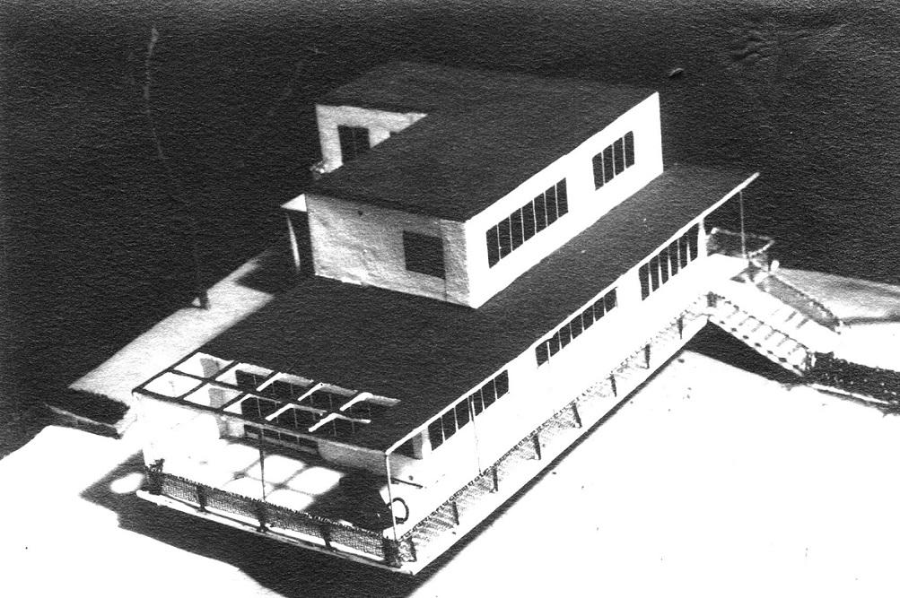Das Haus Albrecher-Leskoschek in Graz: Man beachte den winzigen Lehnstuhl auf der Terrasse (Bild: Archiv der TU Graz, Sammlung Herbert Eichholzer)