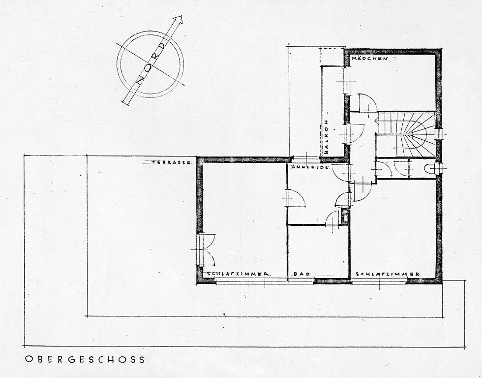 Das Haus Albrecher-Leskoschek in Graz: das Obergeschoss (Bild: Archiv der TU Graz, Sammlung Herbert Eichholzer)