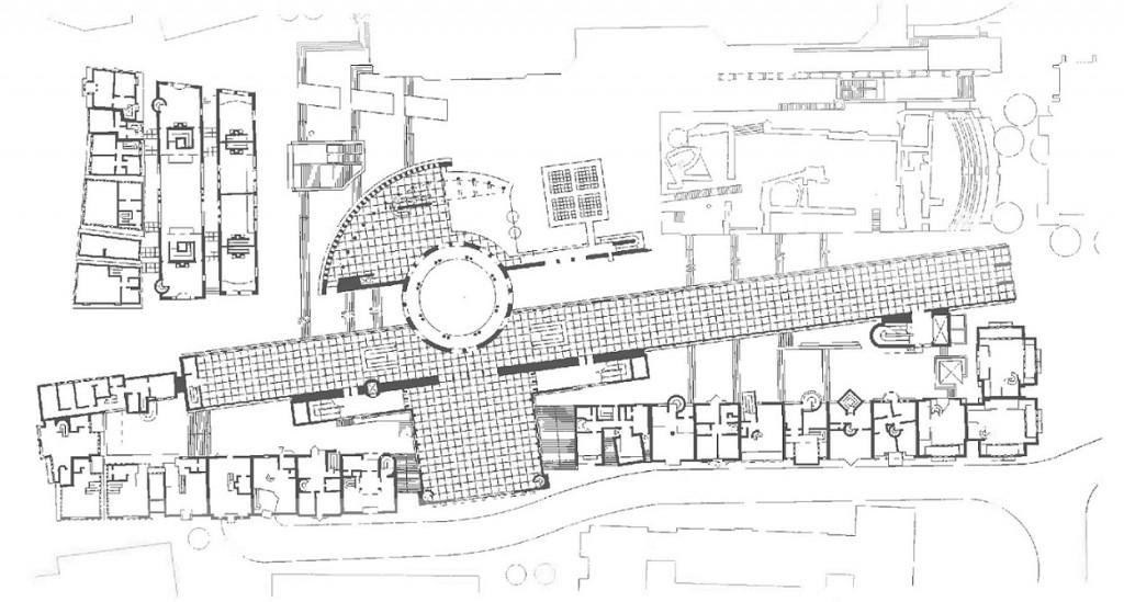 Frankfurt/Main, Grundriss (Fertigstellung der Gebäude um 1984), unten liegt die Saalgasse, hinter den Häusern die Kunsthalle Schirn (Copyright: Stadt Frankfurt/Main)