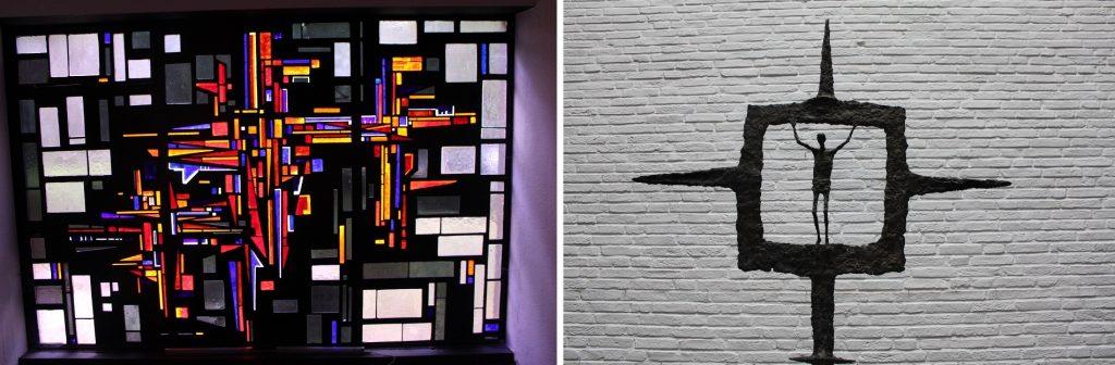 Hamburg-Othmarschen, Ansgarkirche, Sakristeifenster und Altarkreuz (Bilder: Matthias Kaiser)