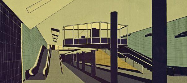 """Hamburg, Haltestelle """"Alter Teichweg"""", Entwurfscollage von Fritz Trautwein, 1962, Haltestellenwärterkanzel (Bestand: Hamburgisches Architekturarchiv)"""