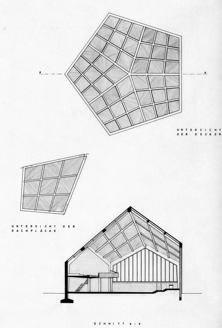 Unter Denkmalschutz, seit 2012 entwidmet: Hannover-Stöcken, Corvinuskirche, Entwurf des Kirchenbaus, Roderich Schröder, 1960 (Bild: Roderich Schröder (Archiv Roderich Schröder), FAL)