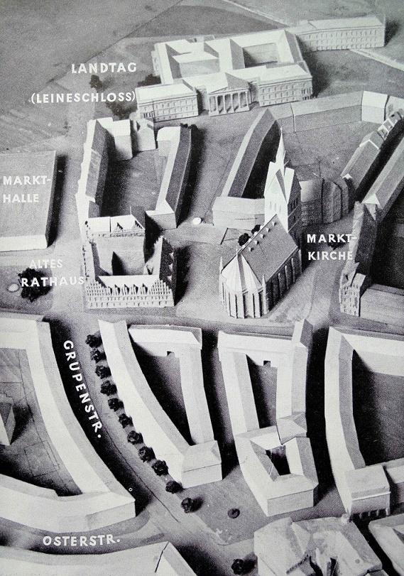 Der Aufbau der Stadt Hannover, 1. Denkschrift 1949, Modellfoto, Die neue Ladenstraße (Quelle: Archiv R. Dorn)