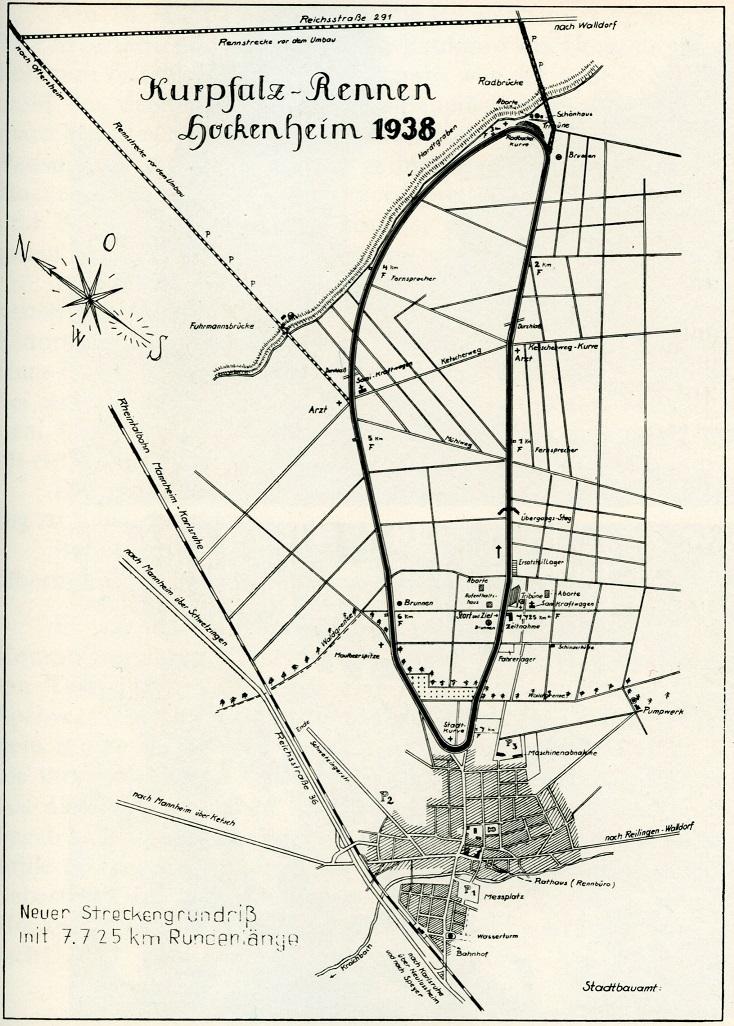 """Die Strecke des """"Kurpfalzrings"""" wurde 1938 festgelegt (Bild: Hockenheimring, 1938)"""