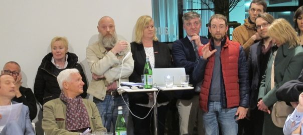 """Köln, Haus der Architektur, Vorstellung der Initiative """"Brutalismus im Rheinland"""" am 14. März 2016 (Bild: D. Bartetzko)"""