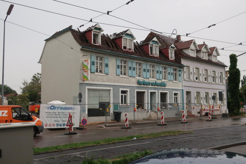 Karlsruhe-Durlach, Hengstplatz, Abriss (Bild: Copyright Arbeitsgemeinschaft Karlsruher Stadtbild)