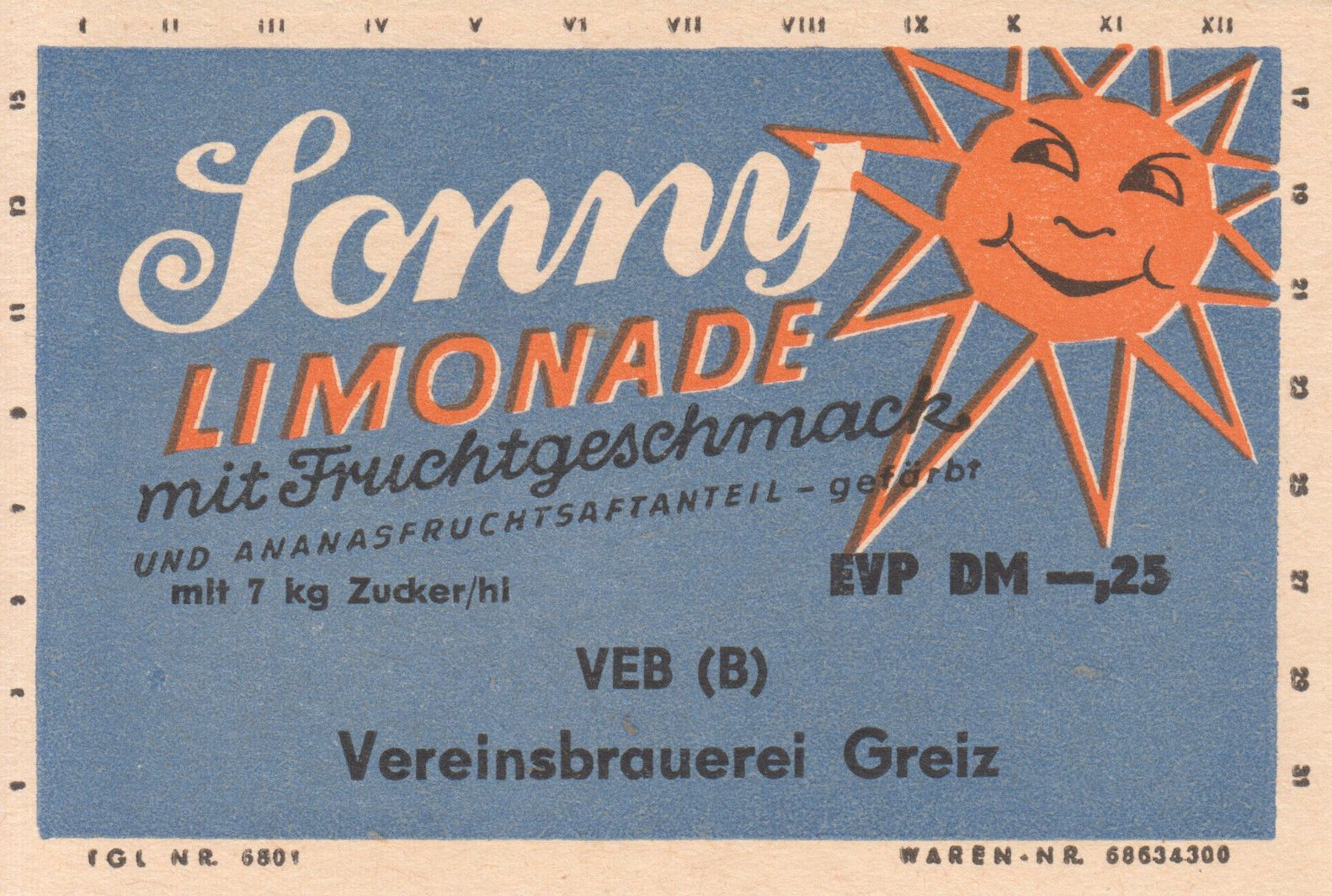 Sonny Limonade, VEB (B) Vereinsbrauerei Greiz (Bild: historisches Etikett)