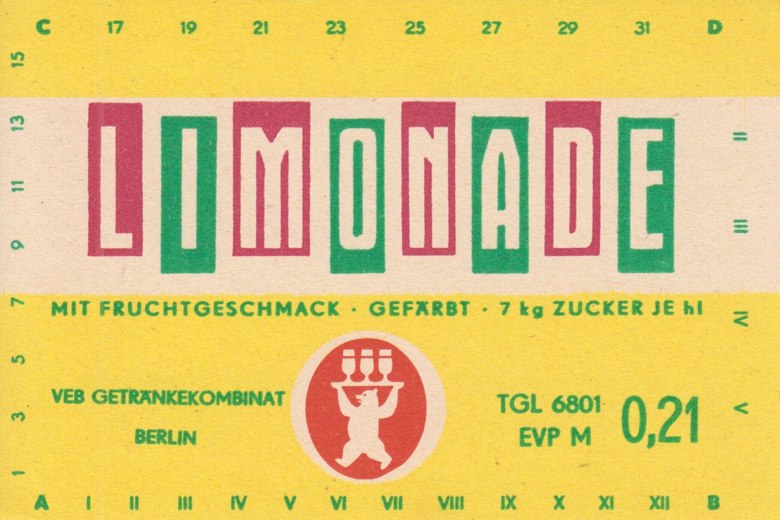 Limonade mit Fruchtgeschmack, VEB Getränkekombinat Berlin (Bild: historisches Etikett)