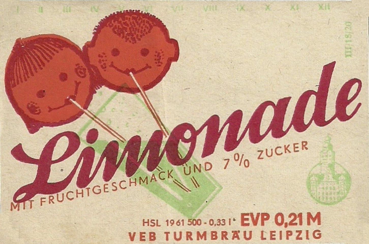 Limonade mit Fruchtgeschmack, VEB Turmbräu Leipzig (Bild: historisches Etikett)