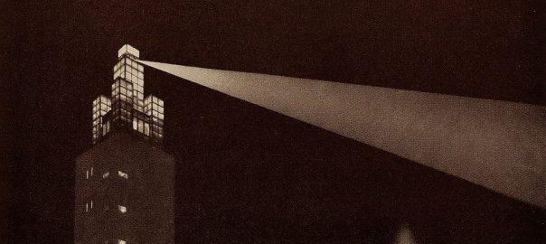 Magdeburg, Albinmüller-Turm im Stadtpark anlässlich der Deutschen Theaterausstellung im Jahr 1927 (Bild: Kulturhistorisches Museum Magdeburg, Detail)