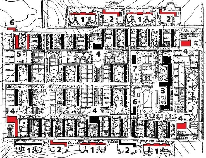 Ausführungsplanung für das Erste Quartal von Magnitogorsk mit funktionalistischer Grünplanung von Ulrich Wolf. Frühjahr 1932. Geplante Gemeinbedarfseinrichtungen: 1 Kinderkrippe; 2 Kindergarten/Kinderhaus (Entwurf Grete Schütte-Lihotzky); 3 Schule (Entwurf Wilhelm Schütte); 4 Speisehaus/Kantine; 5 Universalladen; 6 Lebensmittelgeschäft; 7 Wäscherei. Die rot gekennzeichneten Gebäude wurden nicht realisiert (Bild: V. I. Kazarinova/V. I. Pavličenkov, Magnitogorsk. Moskva 1961, S. 82, Plan bearb. v. Elke Pistorius)