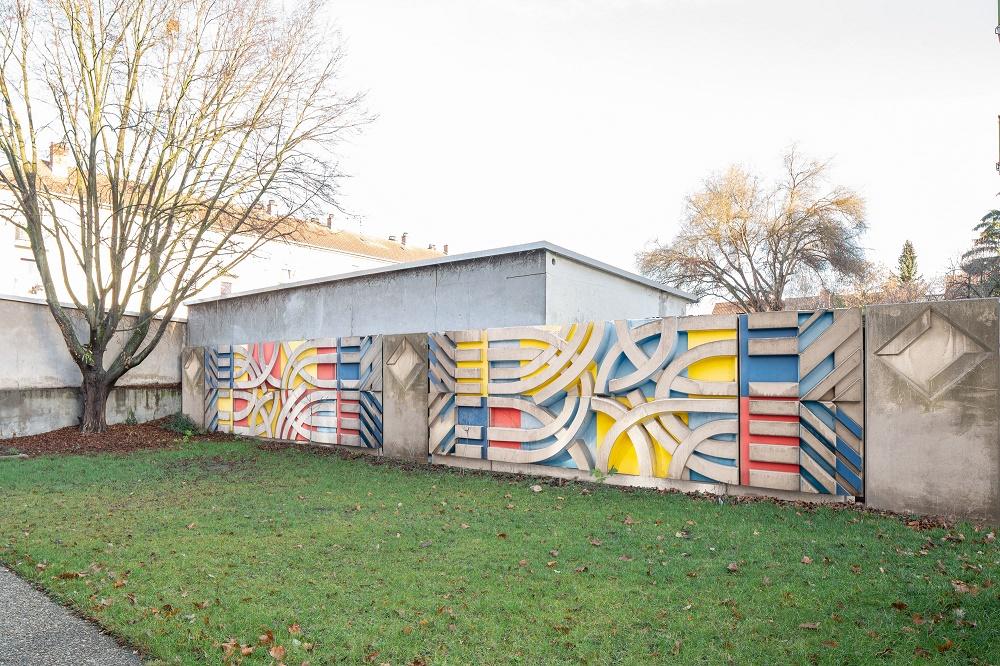 Mannheim, Fotomontage der Betonreliefs von Otto Herbert Hajek im Garten der Lukaskirche (Bild/Fotomontage: Maro Vedana)