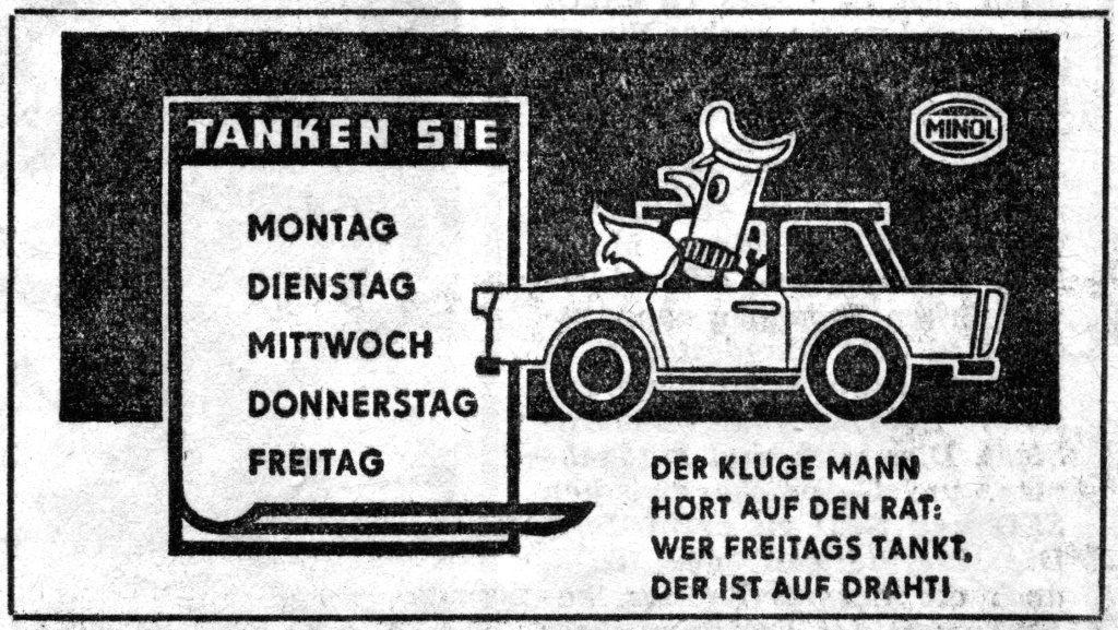 Minol-Werbung, um 1960 (Bild: historische Vorlage, Neues Deutschland)