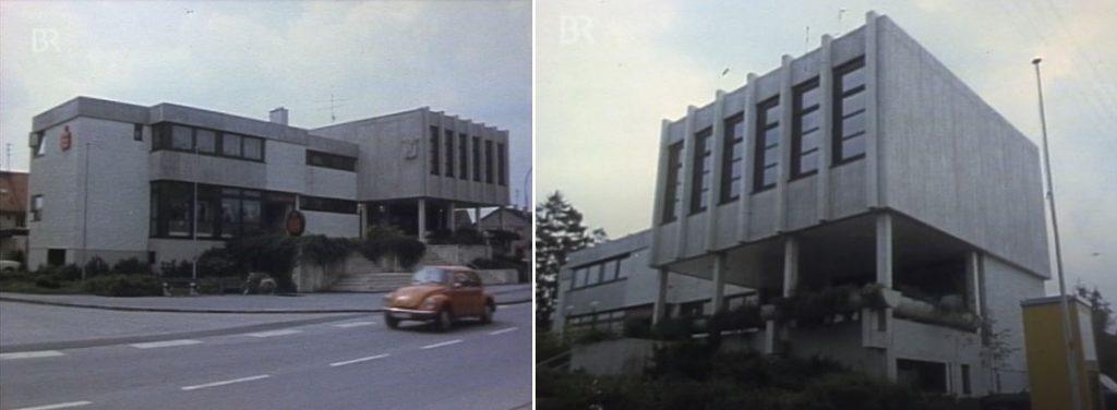 """Moosinning, Sparkasse (Bild: Filmstill aus """"Unser Dorf soll hässlich werden"""" von Dieter Wieland)"""