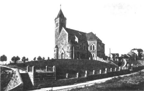 Mülheim/Ruhr, Vorgängerbau der Johanniskirche (historische Aufnahme)