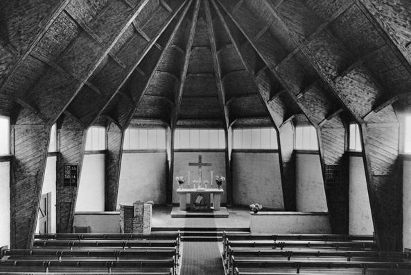 Otto Bartning, Notkirchen nach 1946, Johanneskirche, Wuppertal-Elberfeld, 1948/49 (Foto: Carl Schäfer, © Archiv des Ev. Kirchenkreises Wuppertal)