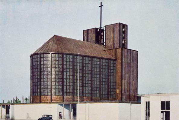 Otto Bartning, Stahlkirche auf der Ausstellung Pressa, Köln, 1928 (Foto: Hugo Schmölz, © Otto-Bartning-Archiv TU Darmstadt)