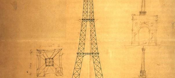 Maurice Koechlin und Émile Nouguier, Plan des Pariser Eiffelturms im Vergleich mit anderen Monumenten, 1884 (Bild: gemeinfrei)