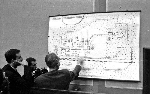Plan des Vernichtungslagers Sobibór als Beweismittel während des Prozesses im Landgericht Hagen 1965-1966 (Copyright: Stadtarchiv Hagen)