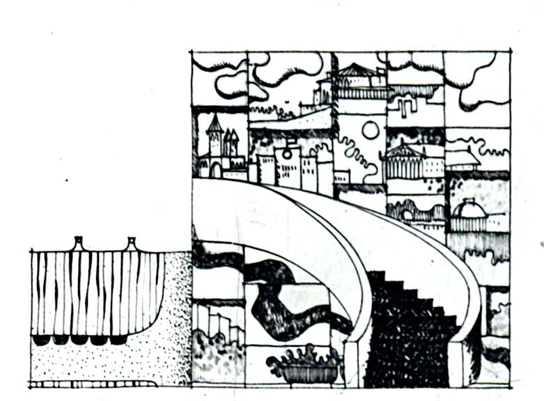 """Potsdam, Terrassenrestaurant """"Minks"""", Entwurf für das untere Foyer, Entwurf: Ewgenij Djatlow (Bildquelle: Archiv BGANTD)"""