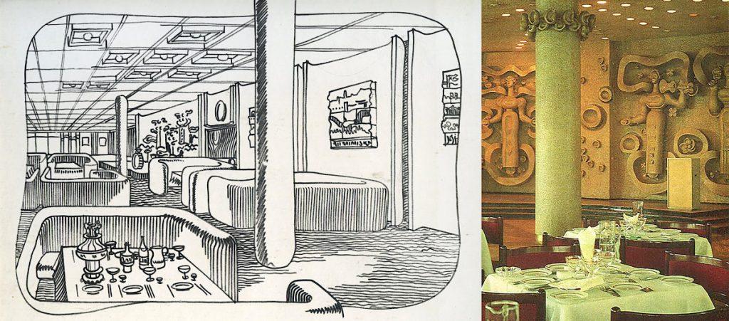 """Potsdam, Terrassenrestaurant """"Minsk"""", Esssaal, Entwurf: Ewgenij Djatlow (Bildquelle: Archiv BGANTD)"""
