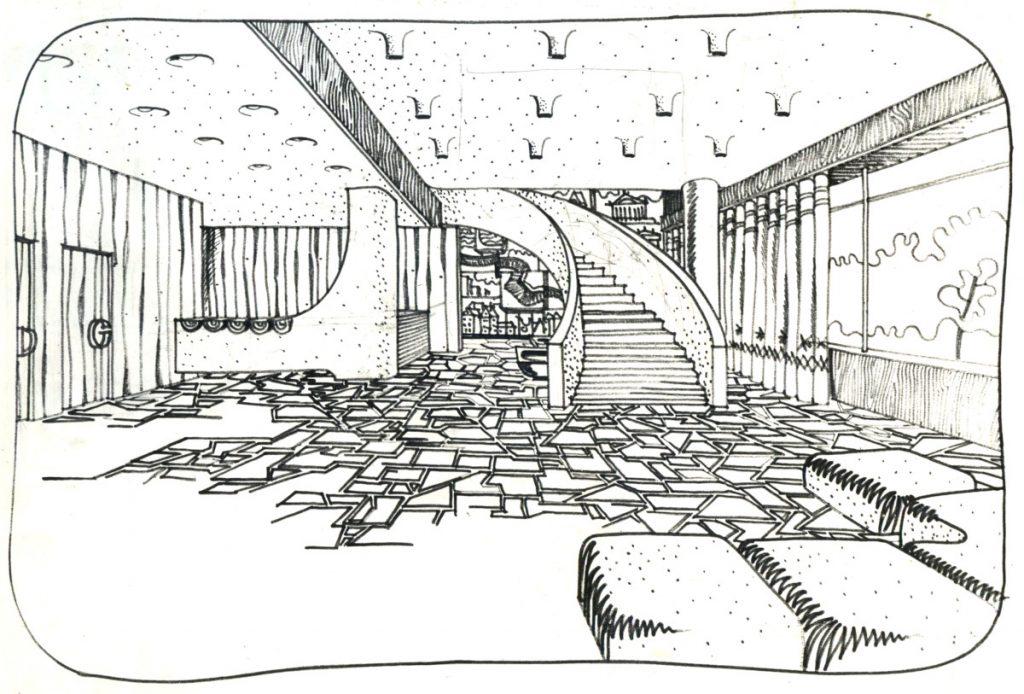 "Potsdam Terrassenrestaurant ""Minsk"", unteres Foyer, Entwurf: Ewgenij Djatlow (Bildquelle: Archiv BGANTD)"