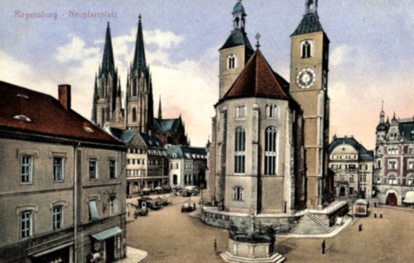 Regensburg, Neupfarrplatz (Bild: historische Postkarte, vor 1973)