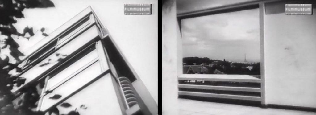 Fassadendetail mit Langfenster sowie architektonische Rahmung der Landschaft in der Villa Stein-de Monzie, Filmstill (Bild: VG Bild-Kunst, Bonn 2020)