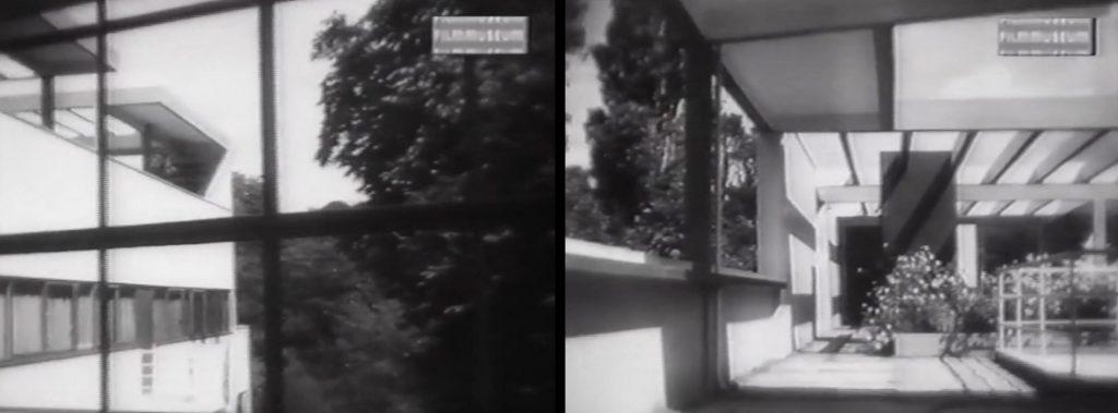 Blick ins Grüne durch das Langfenster der Villa Church und die begrünte Dachgarten, Filmstill (Bild: VG Bild-Kunst, Bonn 2020)