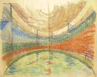 Versprach in den 1920ern Abkühlung in avantgardistischem Ambiente: Rudloffs Schwimmbadentwurf (Bild: ernst-may-gesellschaft)