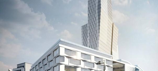 So soll die Neubebauung des ehemaligen Areals der Frankfurter Rundschau aussehen - doch dsie stößt auf Ablehnung (Simulation: Büro Hadi Teherani)
