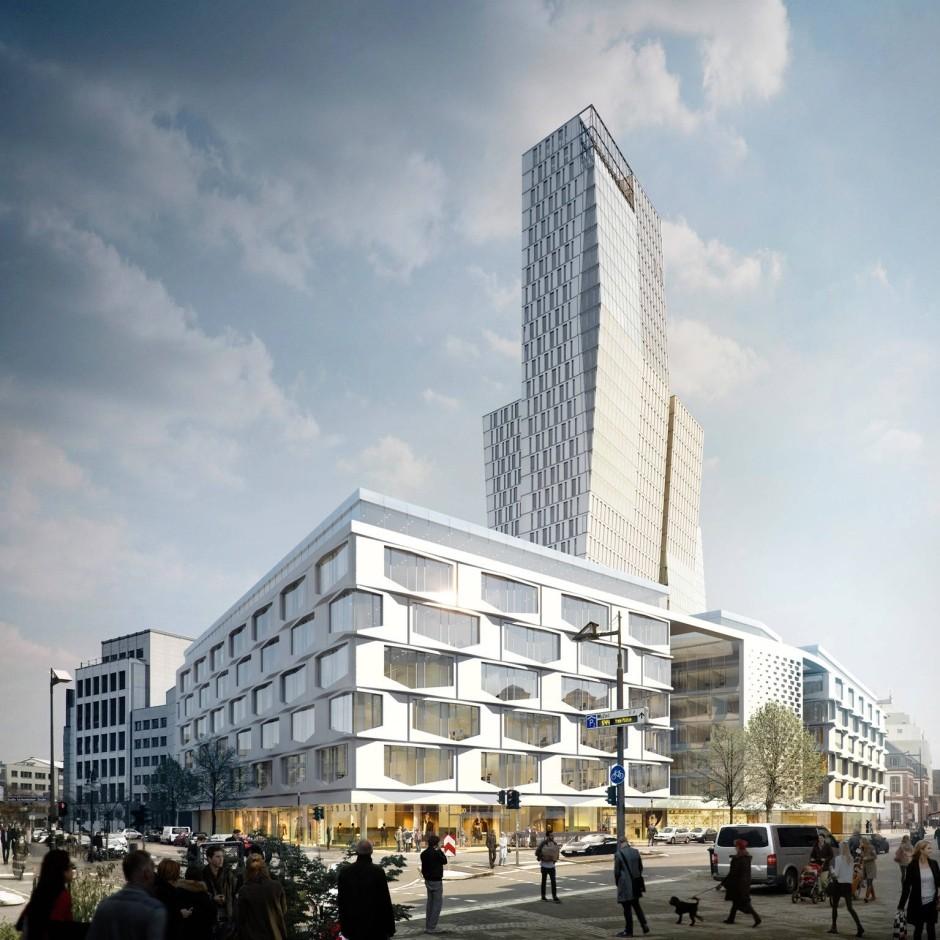 So soll die Neubebauung des ehemaligen Areals der Frankfurter Rundschau aussehen - doch sie stößt auf Ablehnung (Simulation: Büro Hadi Teherani)