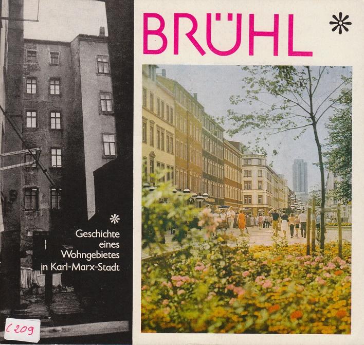 """Alt und Neu – Titelblatt der Imagebroschüre """"Brühl – Geschichte eines Wohngebietes in Karl-Marx-Stadt"""", 1980 herausgegeben vom Rat der Stadt Karl-Marx-Stadt"""