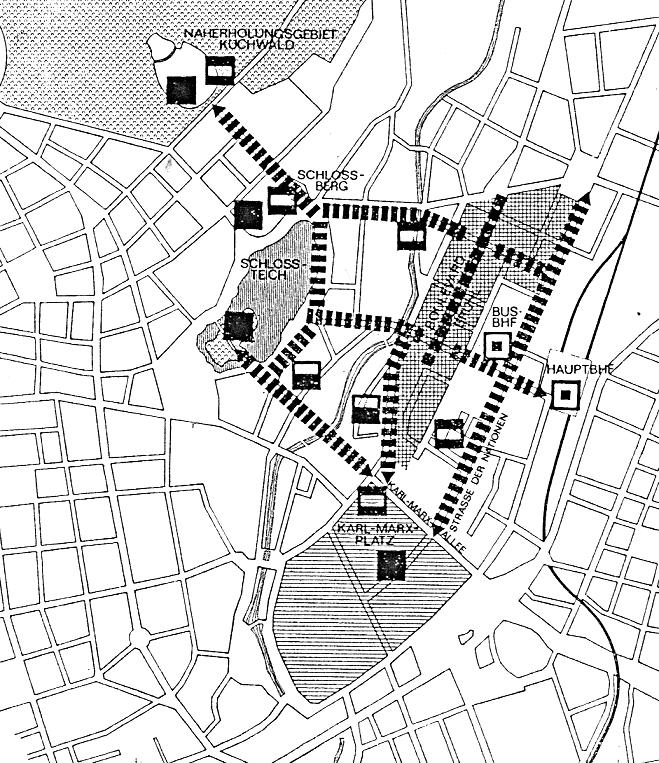 Verknüpfung der innerstädtischen Fußgängerbereiche in Karl-Marx-Stadt (Bild: Architektur in der DDR, 10, 1980)