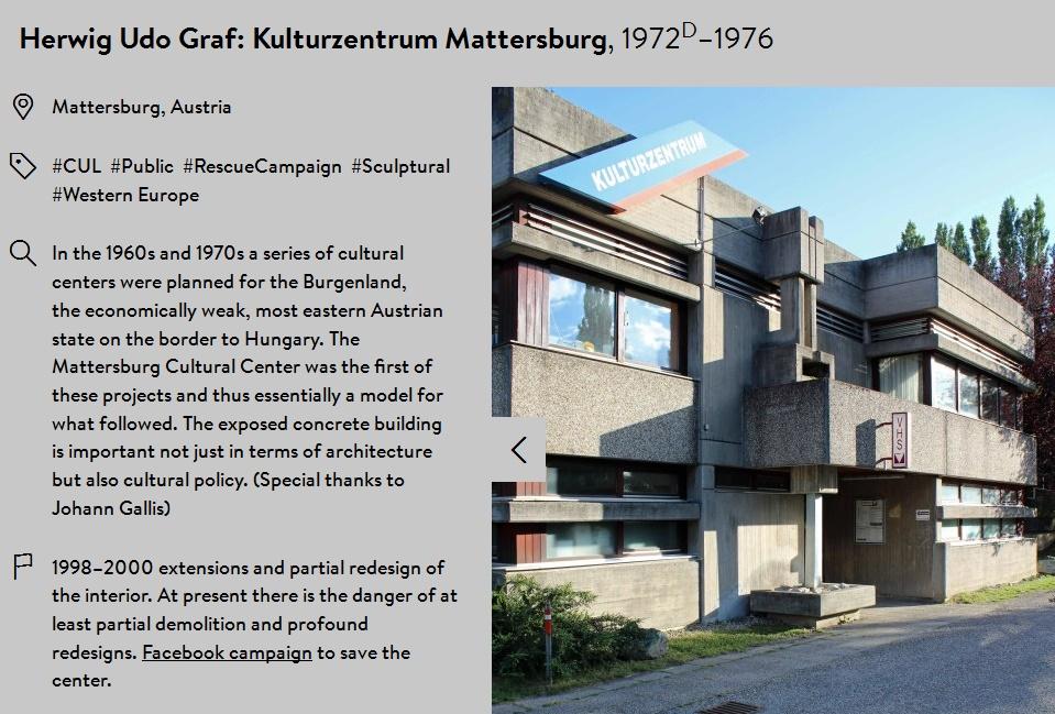 Das Kulturzentrum Matterburg auf SOSBRUTALISM (Bild: Screenshot, www.sosbrutalism.org)