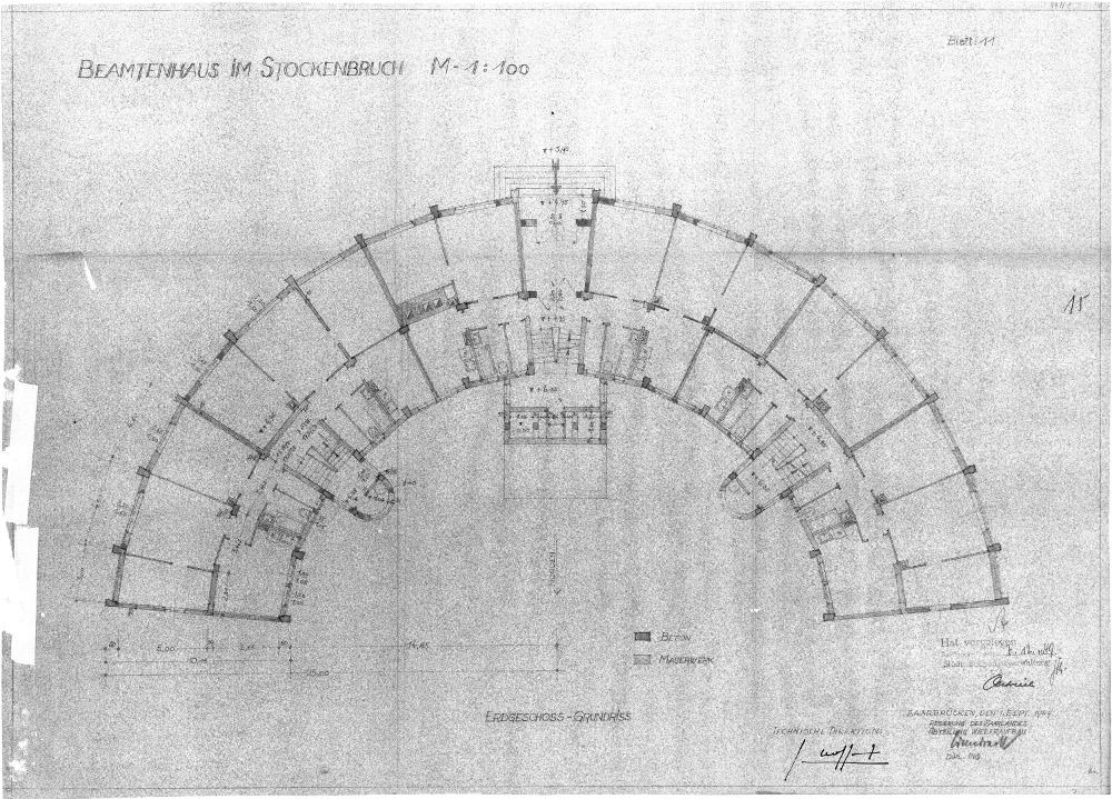 "Saarbrücken, Plan ""Beamtenhaus am Stockenbruch"", 1949 (Bild: Landesdenkmalamt Saarland)"