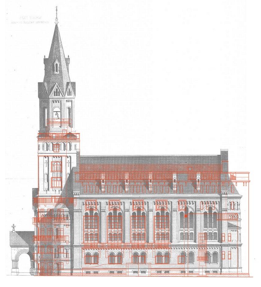 Sankt Petersburg, Kulturhaus, bauhistorische Überlaguerung von Kirche und Kulturhaus (Bild: Polina Sizova, 2013)