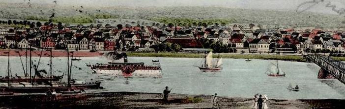 Frankfurt am Main-Schwanheim, Mainufer (Bild: historische Postkarte, Verlag Adam Emmelheinz, Schwanheim, um 1907, Detail)