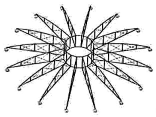 Ringtragwerk mit ebenen Dachbinden (Bildquelle: Jan Knippers: Ingenieurportrait: Johann Wilhelm Schwedler. Vom Experiment zur Berechnung, in: Deutsche Bauzeitung 200, 4, S. 112)