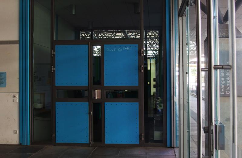 München, Ökumenisches Zentrum im Olympiadorf, Zugang zum evangelischen Bereich (Bild: Andreas Poschmann/Straße der Moderne)