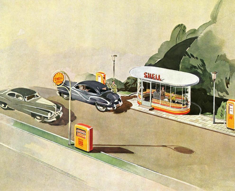 Shell-Tankstelle Typ Kiosk, Schaubild von 1953 (Bild: Shell AG)
