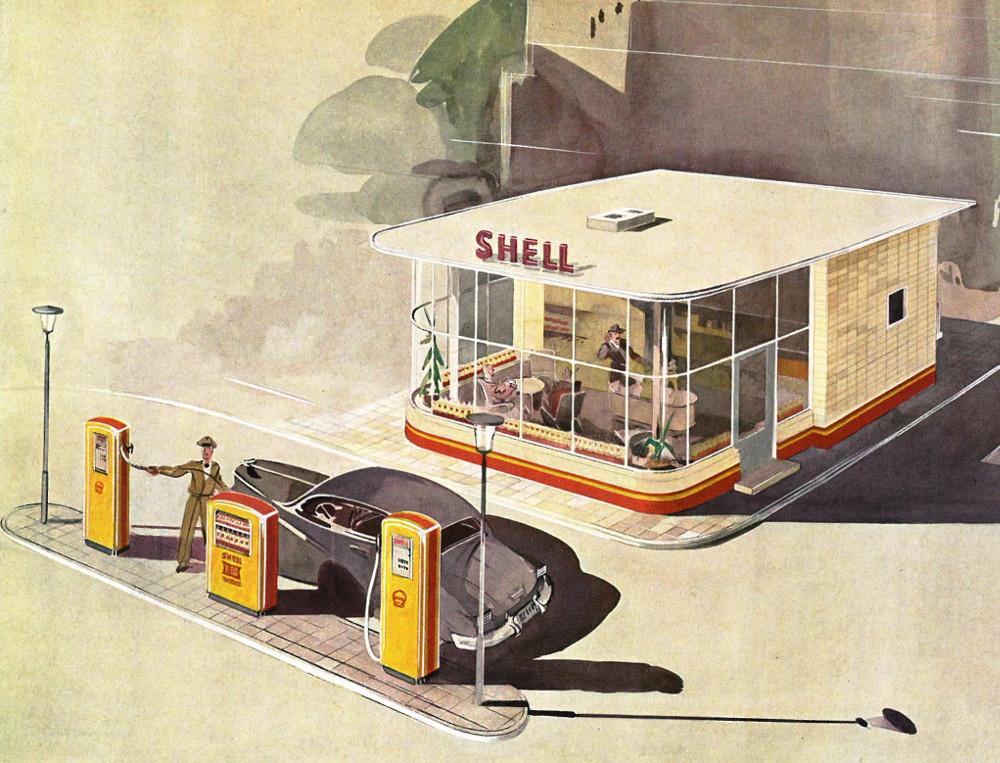 Shell-Tankstelle Typ ODK, Schaubild von 1953 (Bild: Shell AG)