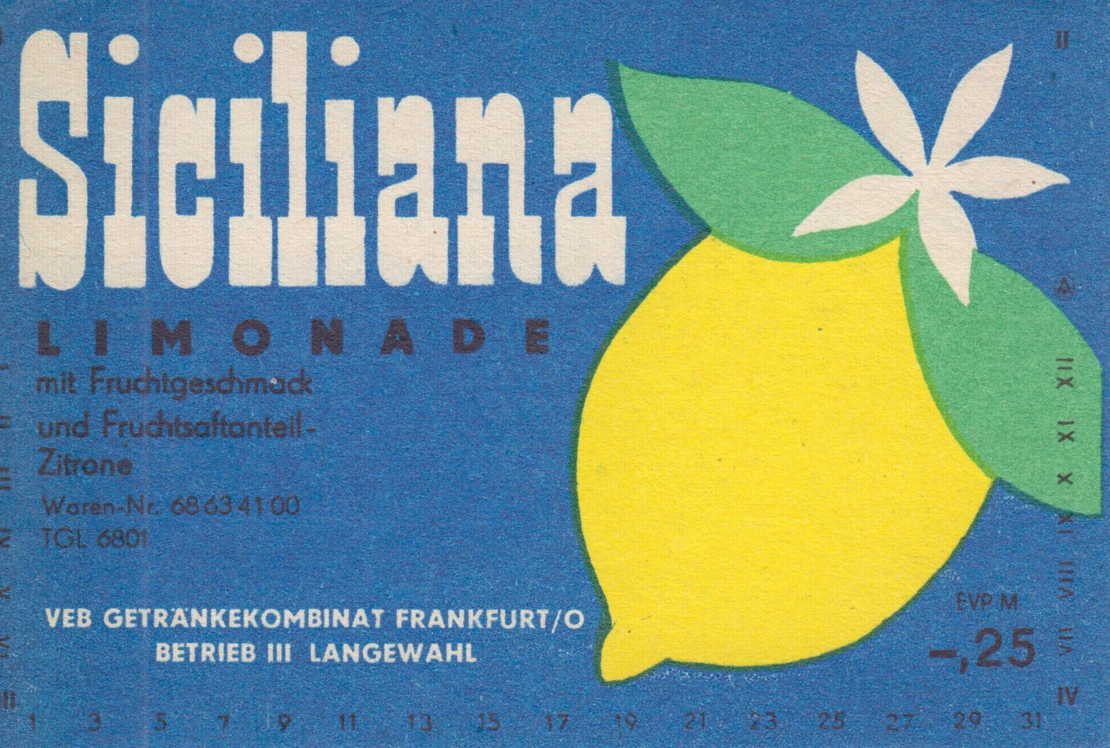 Siciliana Limonade, VEB Getränkekombinat Frankfurt/O. (Bild: historisches Etikett)