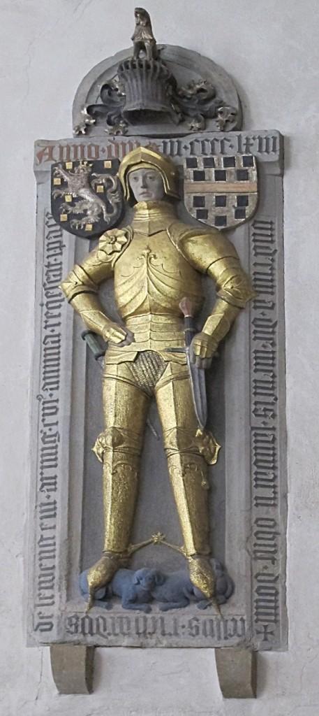 Bad Sobernheim, Matthiaskirche, Grabdenkmal des Knappen Richard von Lewenstein zu Randeck (+ 1463) (Bild: Karin Berkemann)