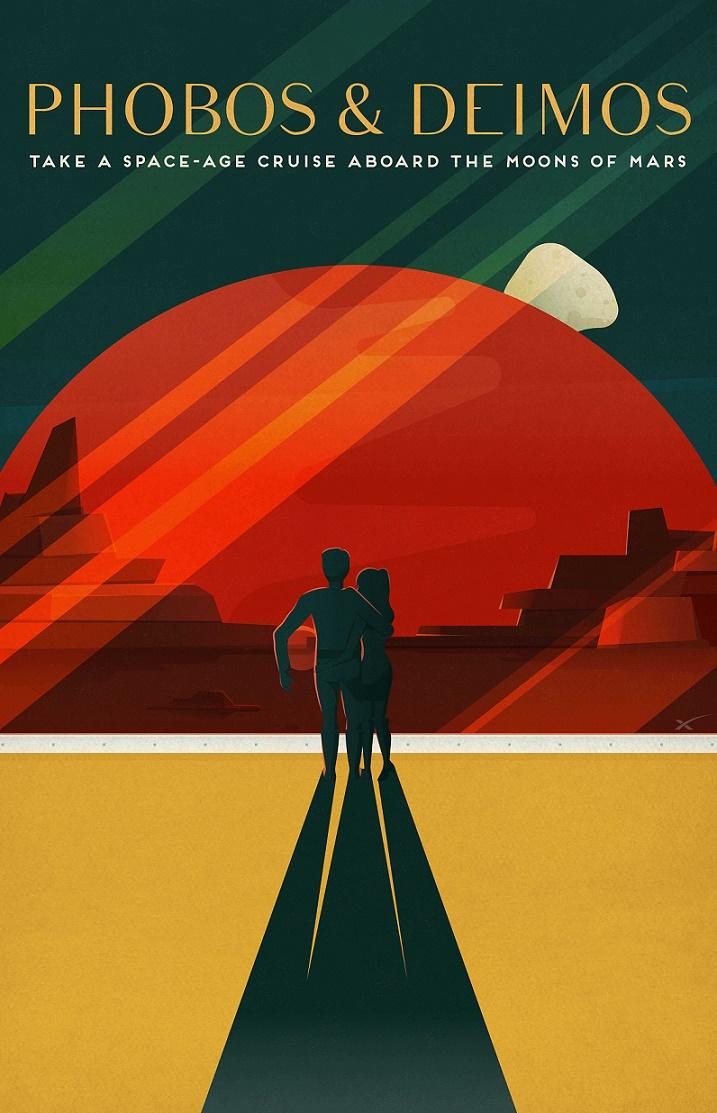 SpaceX, fiktives Mars-Tourismus-Poster für Phobos-Deimos (Bild: SpaceX, CC0)